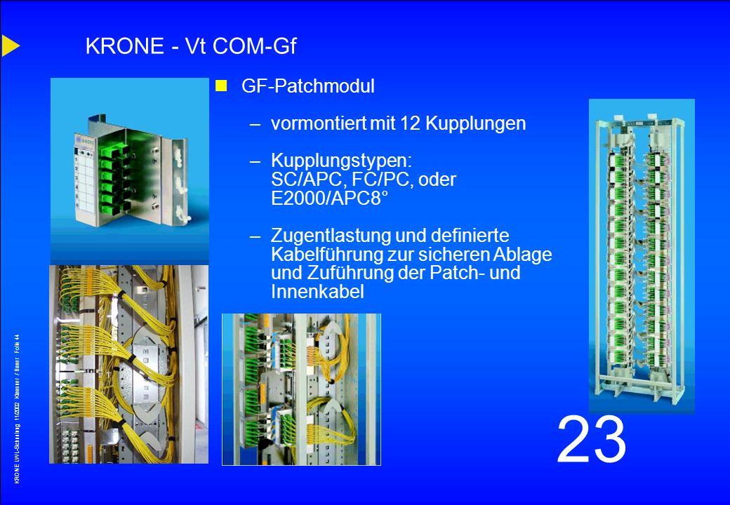 KRONE - Vt COM-Gf GF-Patchmodul vormontiert mit 12 Kupplungen