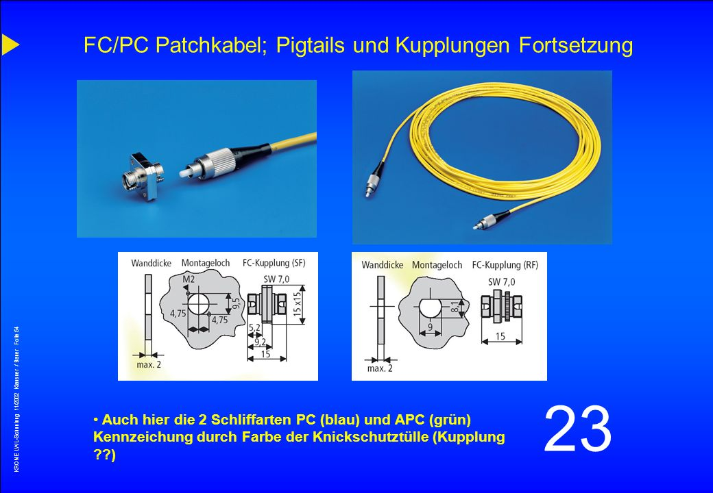 FC/PC Patchkabel; Pigtails und Kupplungen Fortsetzung
