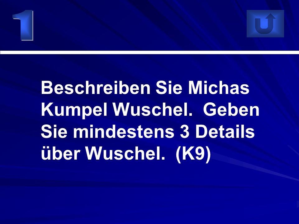 1 Beschreiben Sie Michas Kumpel Wuschel. Geben Sie mindestens 3 Details über Wuschel. (K9)
