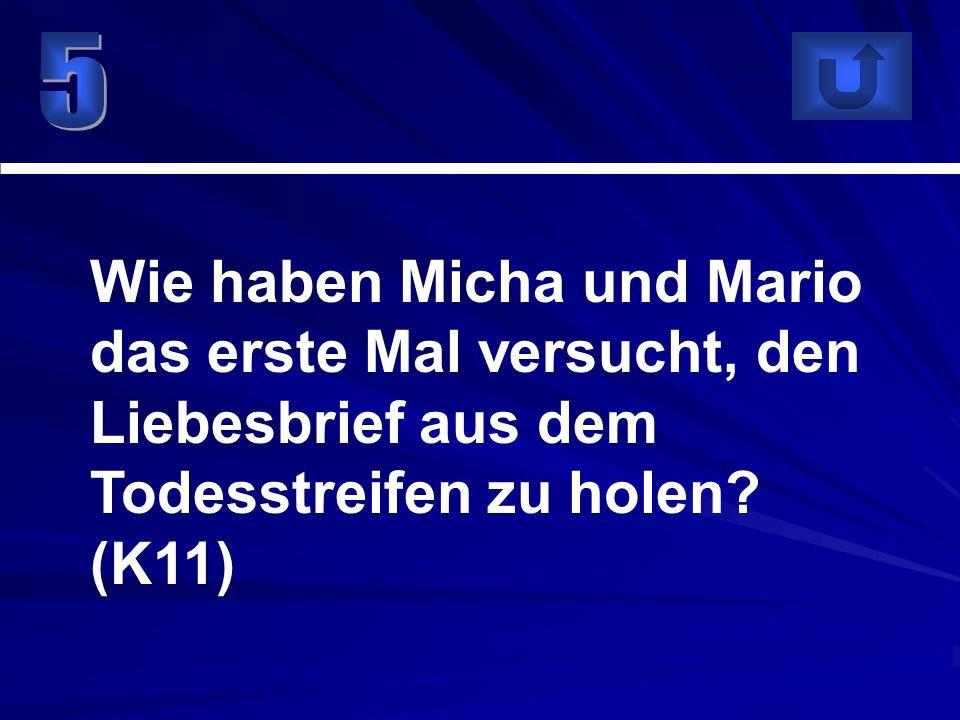 5 Wie haben Micha und Mario das erste Mal versucht, den Liebesbrief aus dem Todesstreifen zu holen.