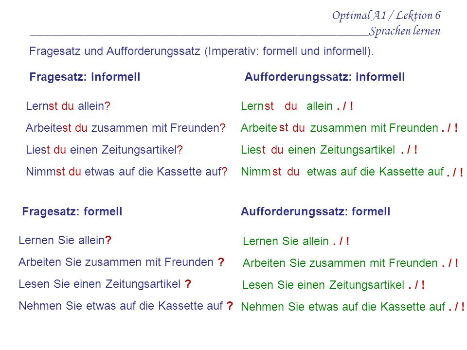 Optimal A1 / Lektion 6 ____________________________________________________Sprachen lernen