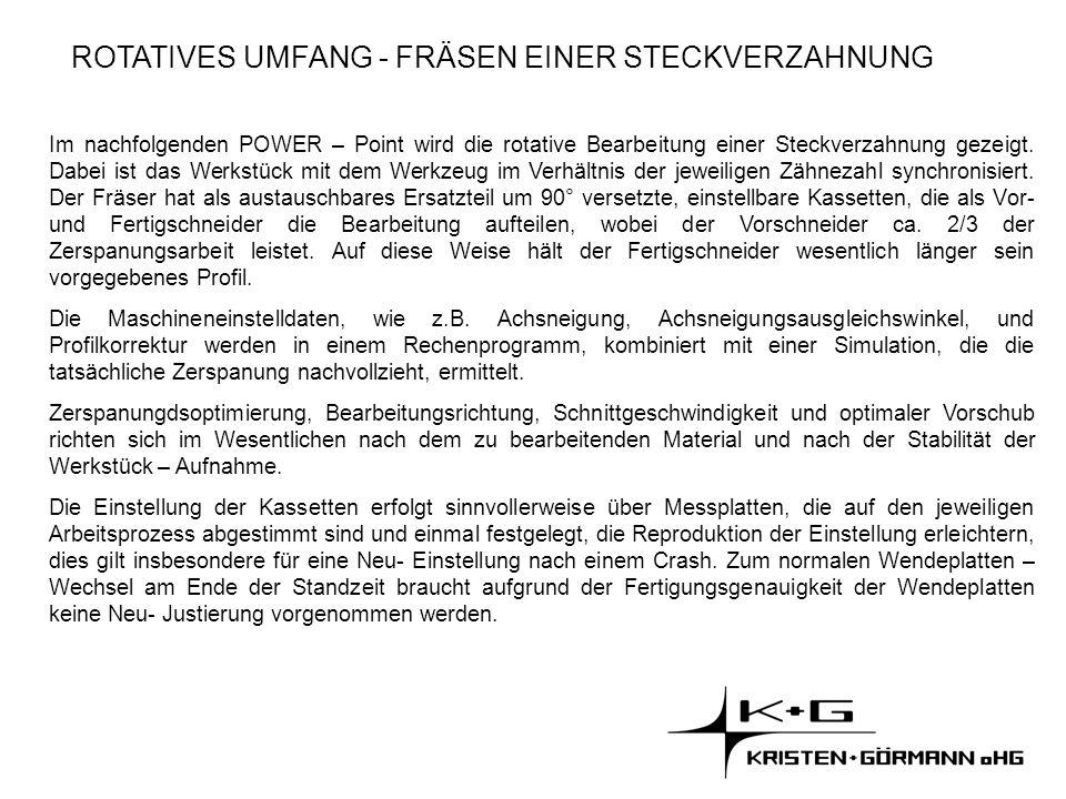 ROTATIVES UMFANG - FRÄSEN EINER STECKVERZAHNUNG