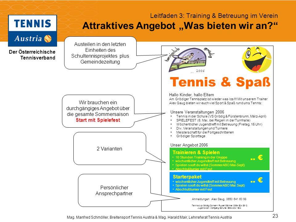 """Leitfaden 3: Training & Betreuung im Verein Attraktives Angebot """"Was bieten wir an"""