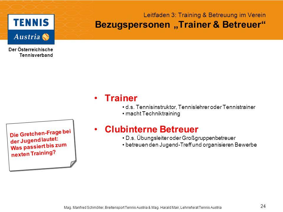 Trainer Clubinterne Betreuer