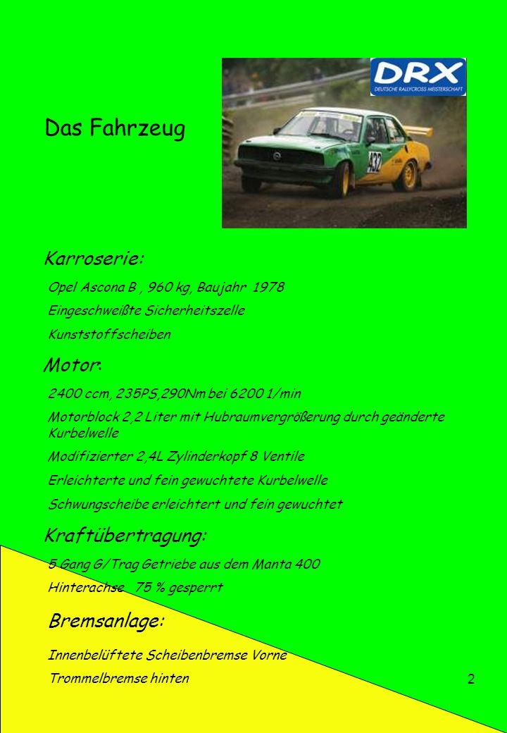 Das Fahrzeug Karroserie: Motor: Kraftübertragung: Bremsanlage:
