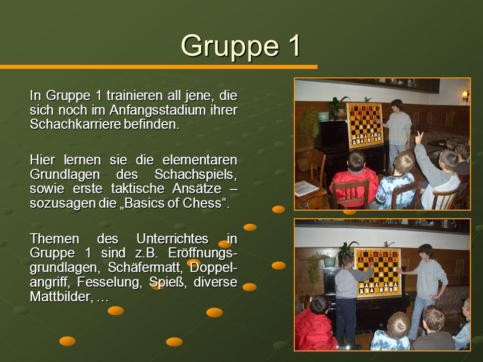 Gruppe 1 In Gruppe 1 trainieren all jene, die sich noch im Anfangsstadium ihrer Schachkarriere befinden.