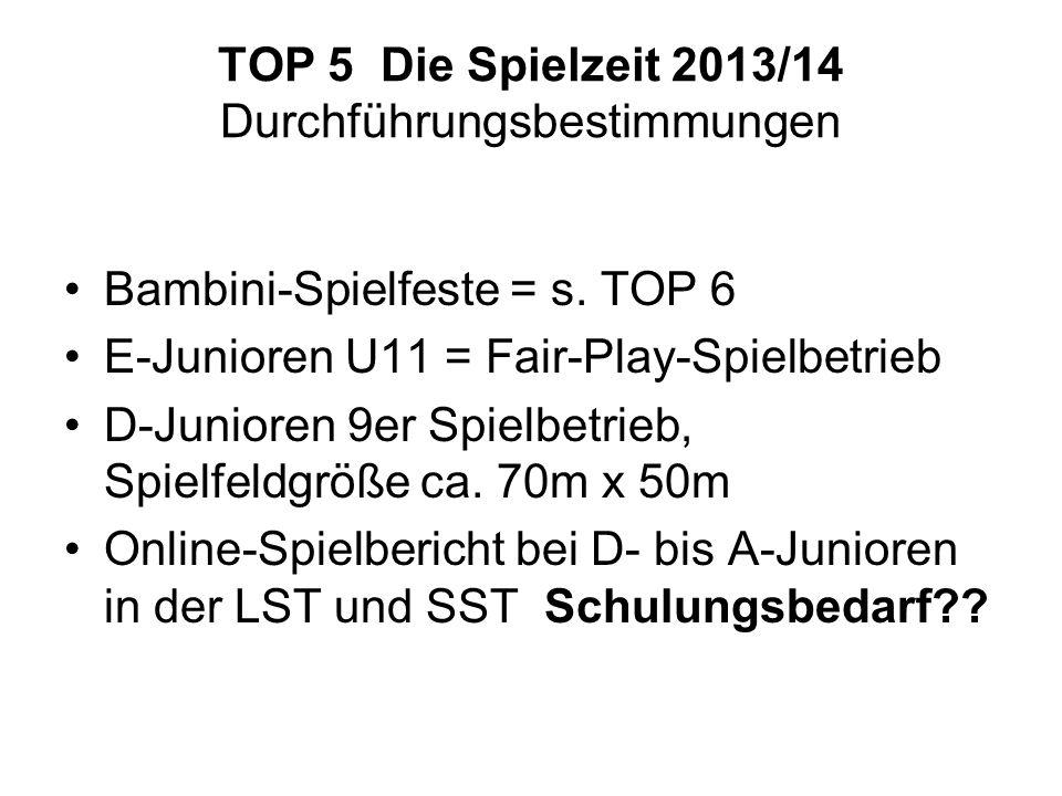 TOP 5 Die Spielzeit 2013/14 Durchführungsbestimmungen