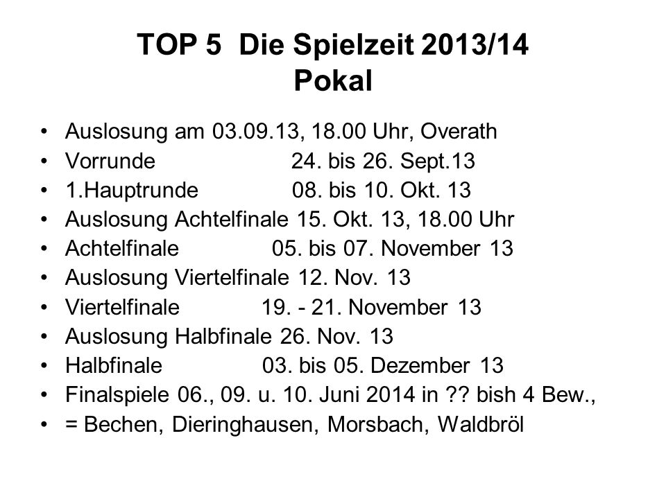 TOP 5 Die Spielzeit 2013/14 Pokal