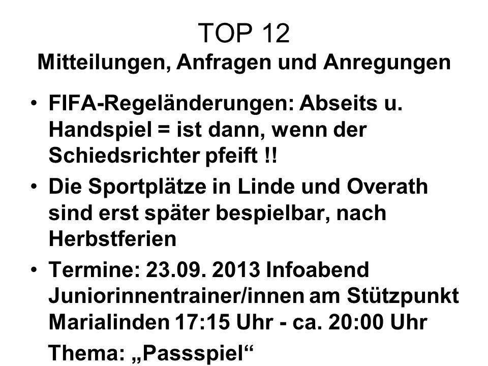 TOP 12 Mitteilungen, Anfragen und Anregungen
