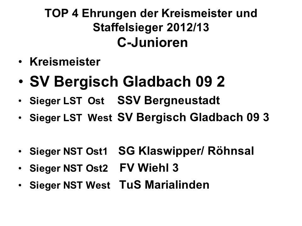 TOP 4 Ehrungen der Kreismeister und Staffelsieger 2012/13 C-Junioren