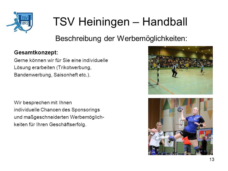 TSV Heiningen – Handball Beschreibung der Werbemöglichkeiten: