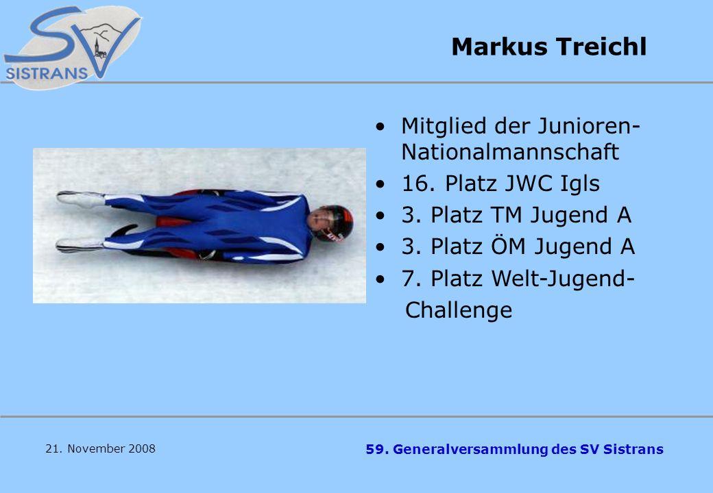 Markus Treichl Mitglied der Junioren- Nationalmannschaft