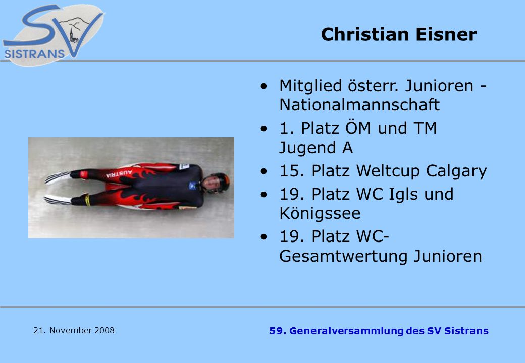 Christian Eisner Mitglied österr. Junioren -Nationalmannschaft