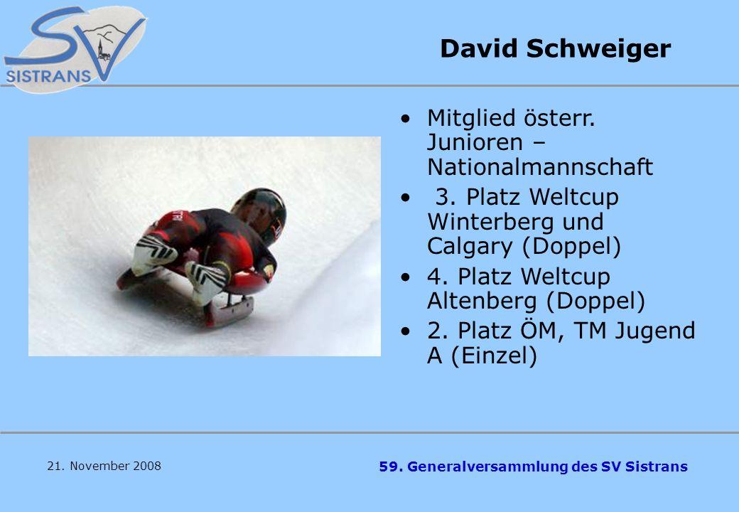David Schweiger Mitglied österr. Junioren –Nationalmannschaft