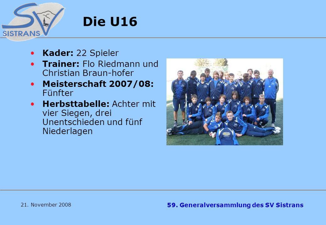 Die U16 Kader: 22 Spieler. Trainer: Flo Riedmann und Christian Braun-hofer. Meisterschaft 2007/08: Fünfter.