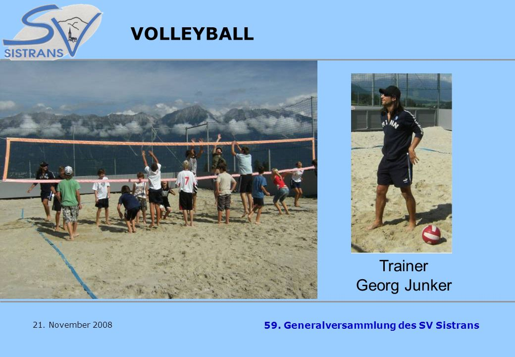 VOLLEYBALL Trainer Georg Junker 21. November 2008