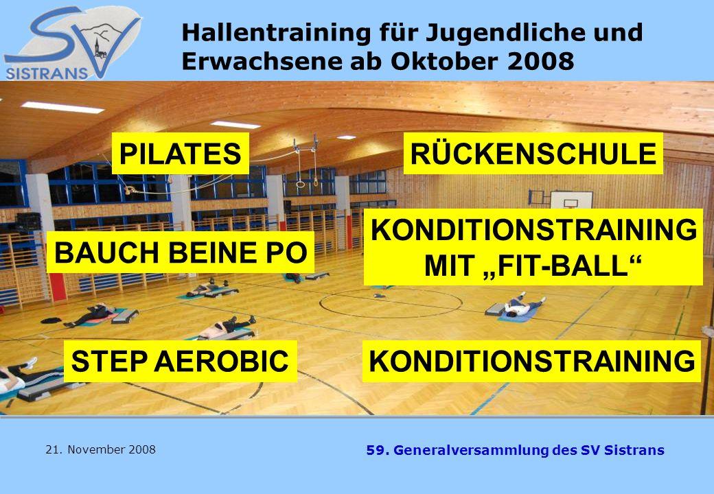 Hallentraining für Jugendliche und Erwachsene ab Oktober 2008