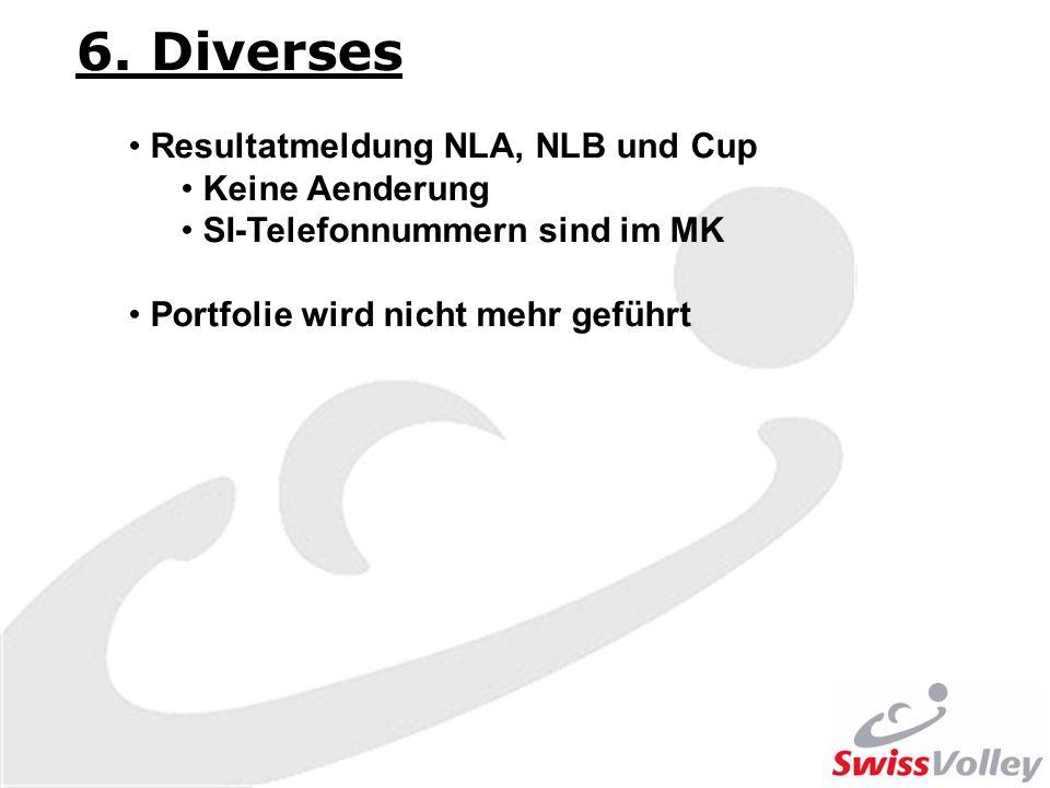 6. Diverses Resultatmeldung NLA, NLB und Cup Keine Aenderung