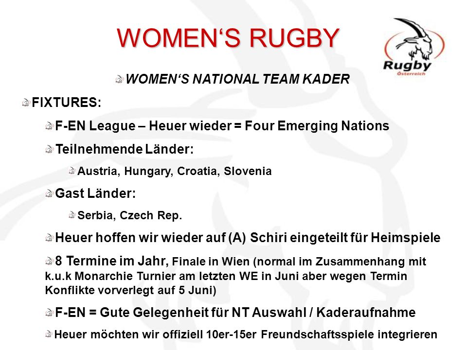 WOMEN'S RUGBY WOMEN'S NATIONAL TEAM KADER FIXTURES: