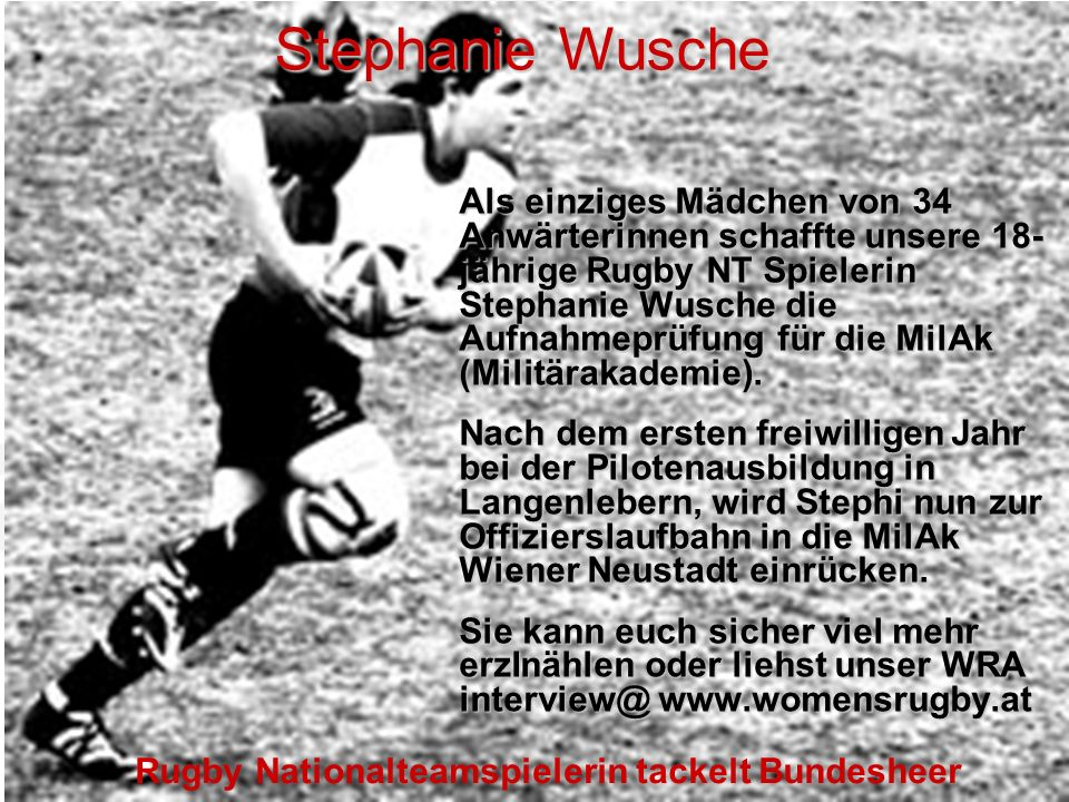 Rugby Nationalteamspielerin tackelt Bundesheer