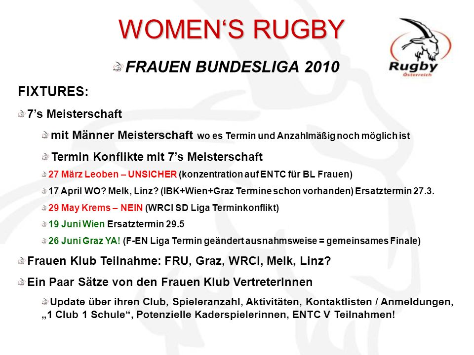 WOMEN'S RUGBY FRAUEN BUNDESLIGA 2010 FIXTURES: 7's Meisterschaft
