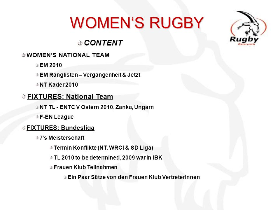 WOMEN'S RUGBY CONTENT FIXTURES: National Team WOMEN'S NATIONAL TEAM
