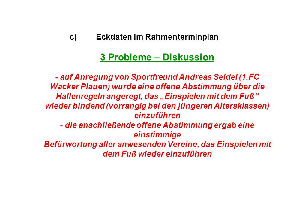 """Eckdaten im Rahmenterminplan 3 Probleme – Diskussion - auf Anregung von Sportfreund Andreas Seidel (1.FC Wacker Plauen) wurde eine offene Abstimmung über die Hallenregeln angeregt, das """"Einspielen mit dem Fuß wieder bindend (vorrangig bei den jüngeren Altersklassen) einzuführen - die anschließende offene Abstimmung ergab eine einstimmige Befürwortung aller anwesenden Vereine, das Einspielen mit dem Fuß wieder einzuführen"""