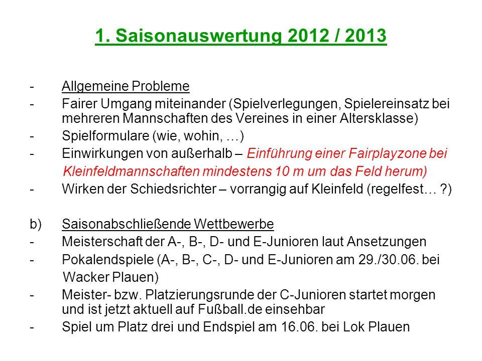 1. Saisonauswertung 2012 / 2013 Allgemeine Probleme