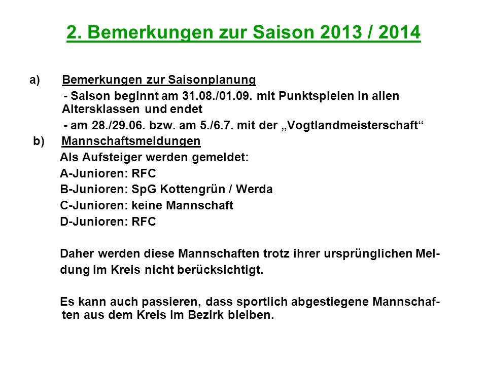 2. Bemerkungen zur Saison 2013 / 2014