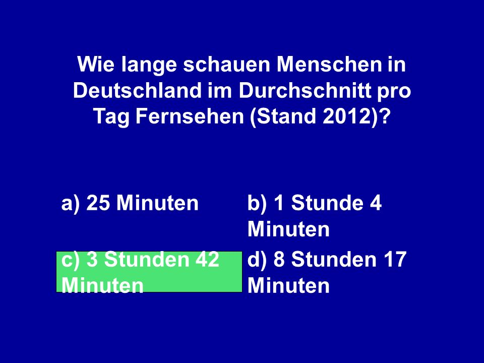 Wie lange schauen Menschen in Deutschland im Durchschnitt pro Tag Fernsehen (Stand 2012)