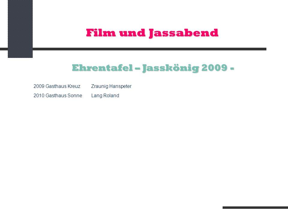 Ehrentafel – Jasskönig 2009 -