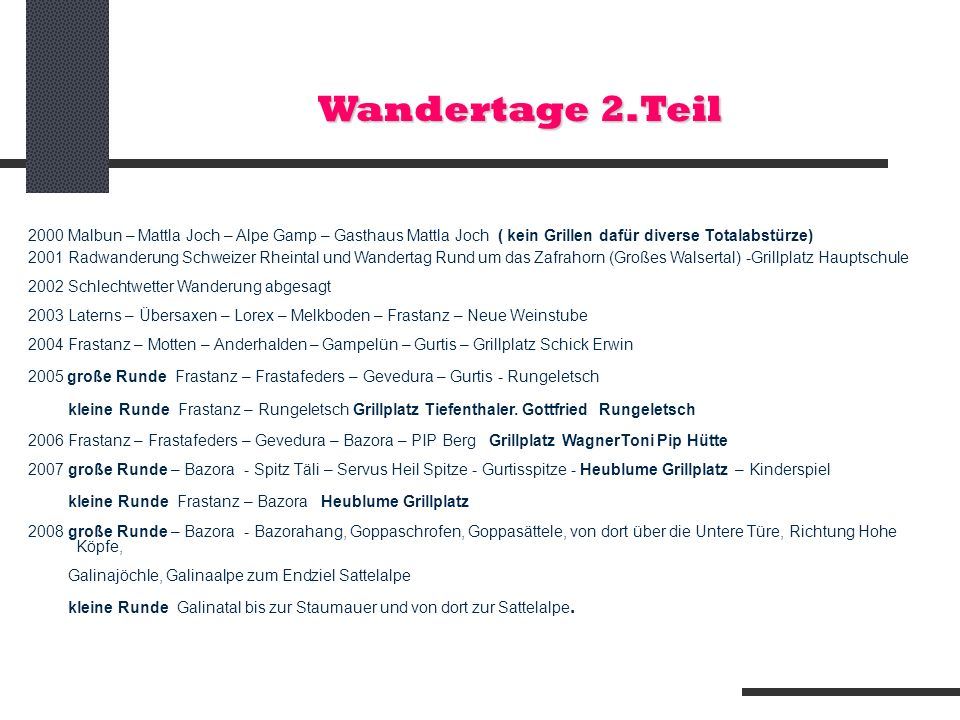 Wandertage 2.Teil 2000 Malbun – Mattla Joch – Alpe Gamp – Gasthaus Mattla Joch ( kein Grillen dafür diverse Totalabstürze)