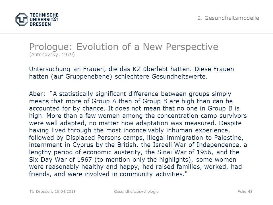 Prologue: Evolution of a New Perspective (Antonovsky, 1979)