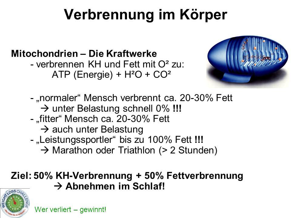 Verbrennung im Körper Mitochondrien – Die Kraftwerke - verbrennen KH und Fett mit O² zu: ATP (Energie) + H²O + CO².