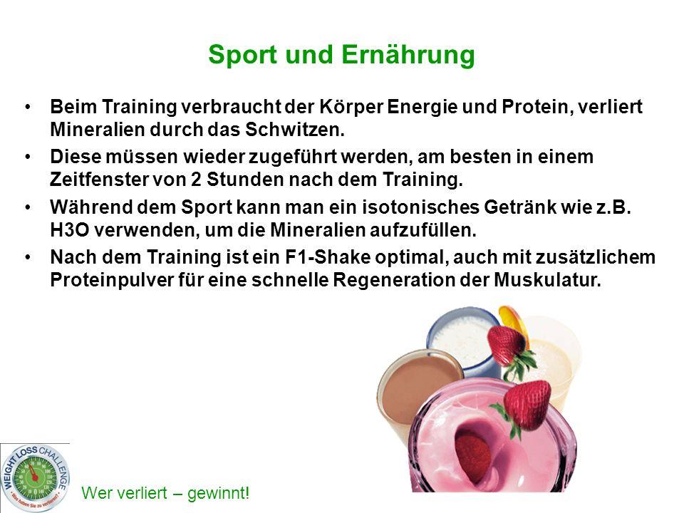 Sport und Ernährung Beim Training verbraucht der Körper Energie und Protein, verliert Mineralien durch das Schwitzen.