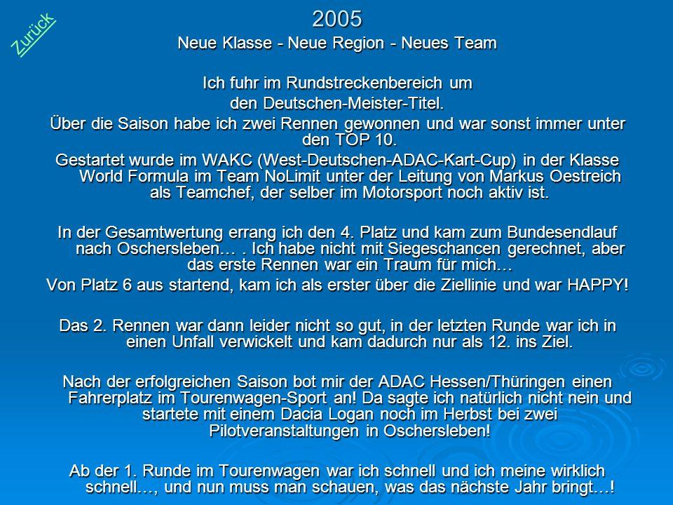 2005 Zurück Neue Klasse - Neue Region - Neues Team