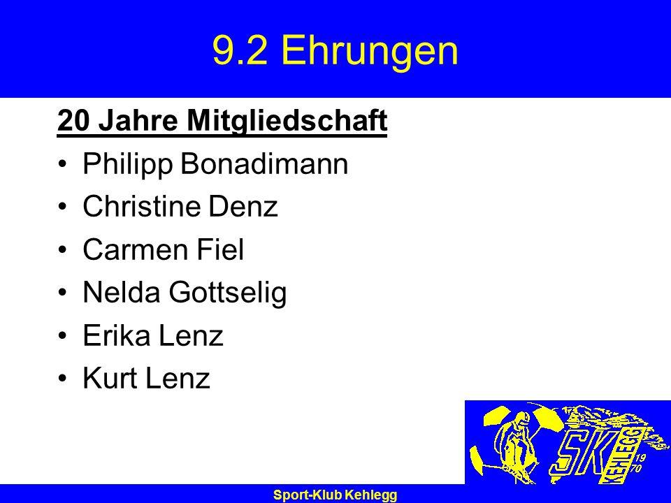 9.2 Ehrungen 20 Jahre Mitgliedschaft Philipp Bonadimann Christine Denz
