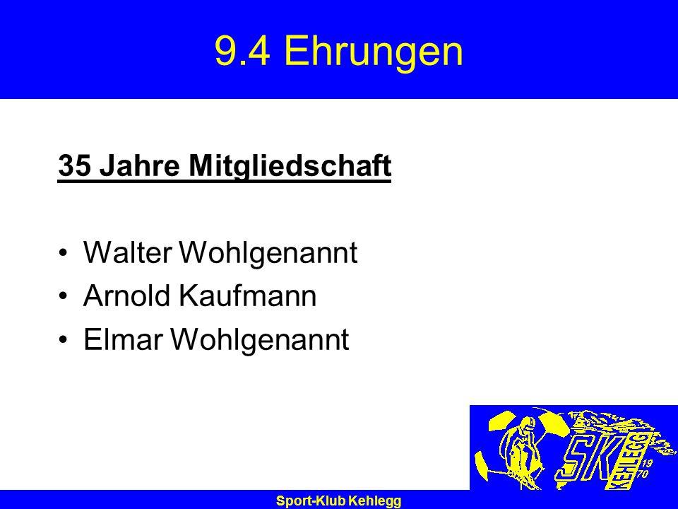 9.4 Ehrungen 35 Jahre Mitgliedschaft Walter Wohlgenannt