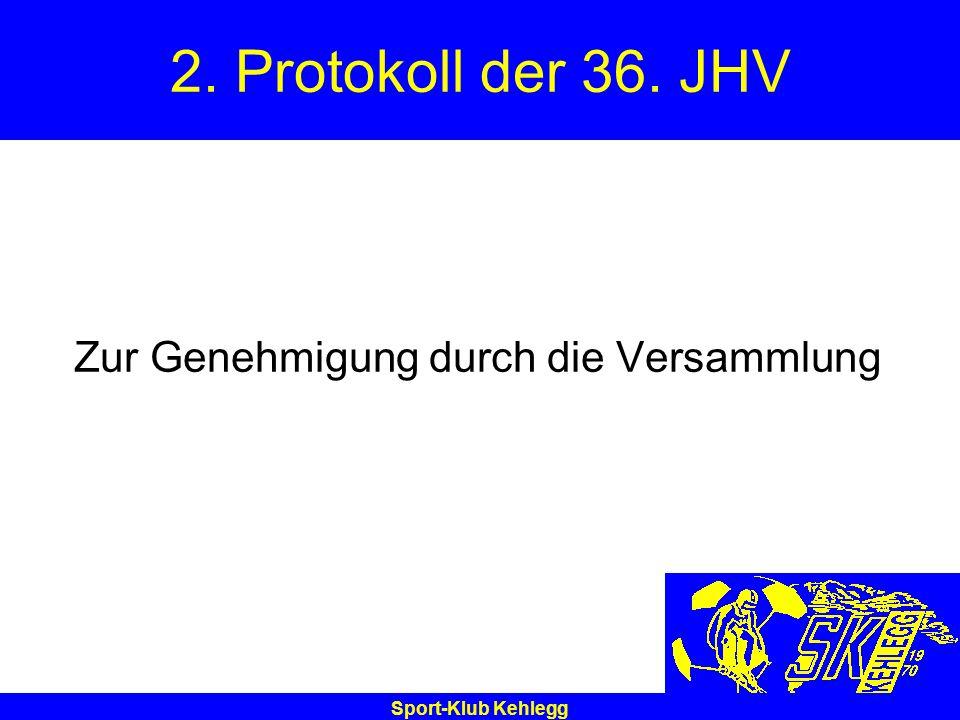 2. Protokoll der 36. JHV Zur Genehmigung durch die Versammlung