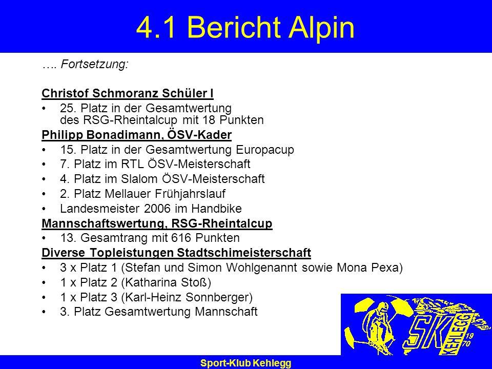 4.1 Bericht Alpin …. Fortsetzung: Christof Schmoranz Schüler I