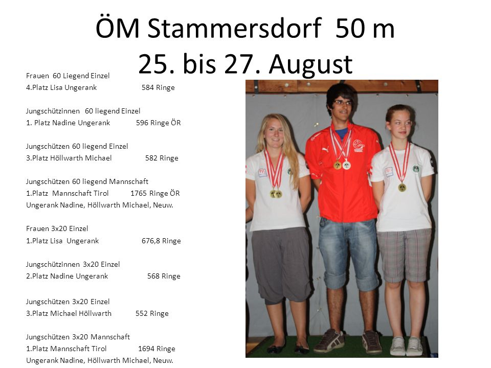 ÖM Stammersdorf 50 m 25. bis 27. August