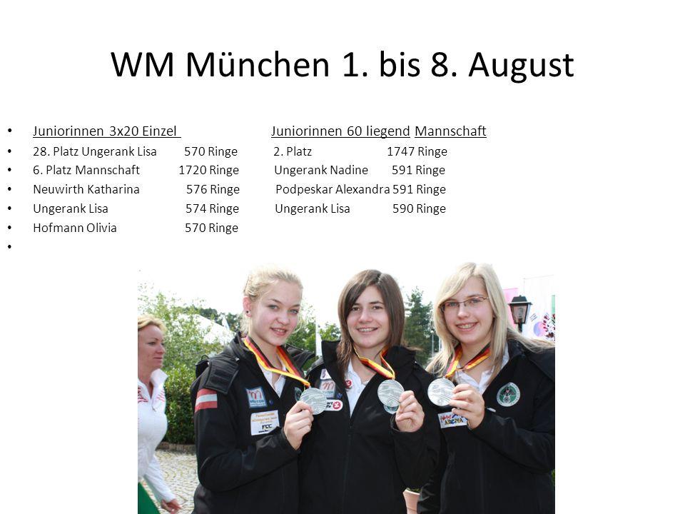 WM München 1. bis 8. August Juniorinnen 3x20 Einzel Juniorinnen 60 liegend Mannschaft.