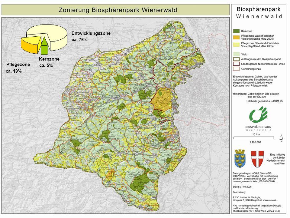 Kernzone ca. 5% Pflegezone ca. 19% Entwicklungszone ca. 76%