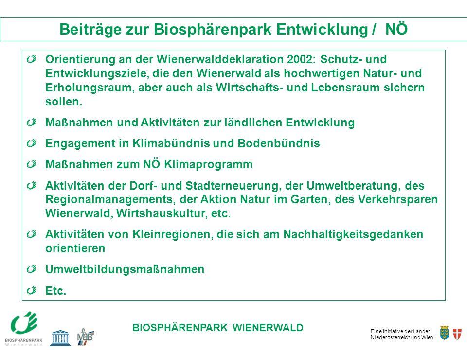 Beiträge zur Biosphärenpark Entwicklung / NÖ