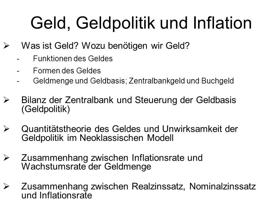 Geld, Geldpolitik und Inflation