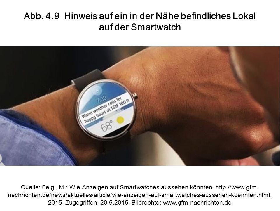 Abb. 4.9 Hinweis auf ein in der Nähe befindliches Lokal auf der Smartwatch