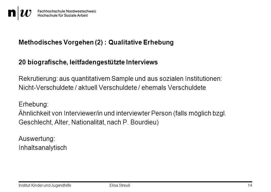 Methodisches Vorgehen (2) : Qualitative Erhebung