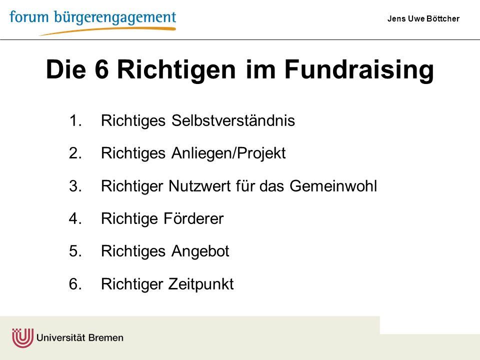 Die 6 Richtigen im Fundraising