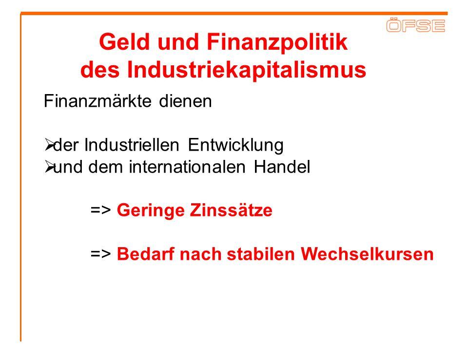 Geld und Finanzpolitik des Industriekapitalismus