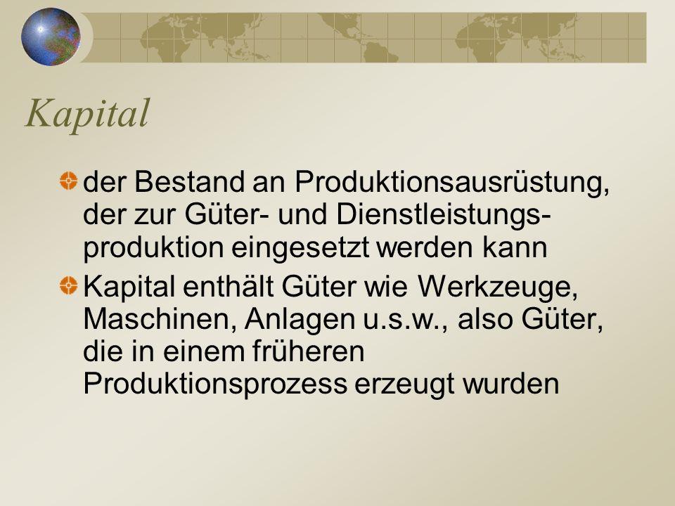 Kapital der Bestand an Produktionsausrüstung, der zur Güter- und Dienstleistungs-produktion eingesetzt werden kann.
